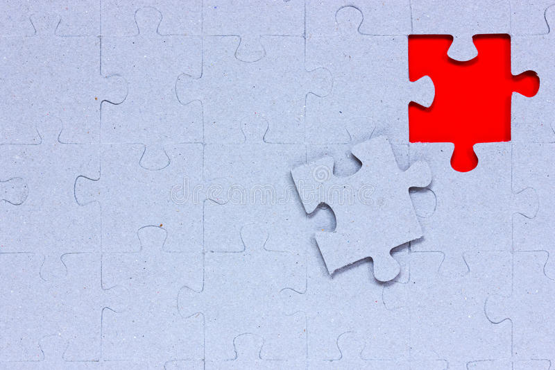 Blauw raadsel met het missen van stuk stock afbeelding