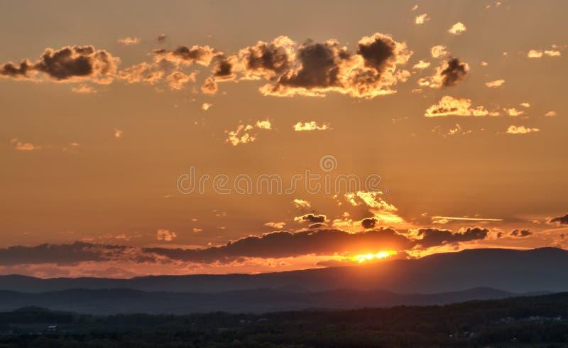 Blauw Ridge Mountains Vista dichtbij zonsondergang stock fotografie