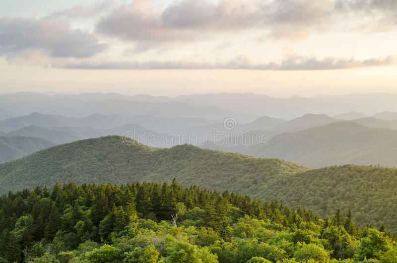 Blauw Ridge Parkway Appalachian Mountain Vista Asheville NC royalty-vrije stock foto