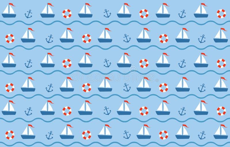 Blauw-rode naadloze overzees vector illustratie