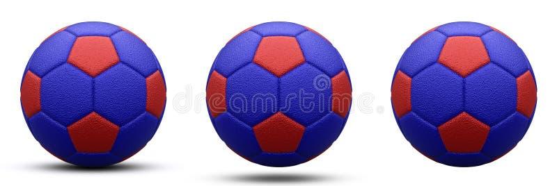 Blauw-rode voetbalbal in drie versies, met schaduw en zonder Geïsoleerd op wit 3d geef terug vector illustratie
