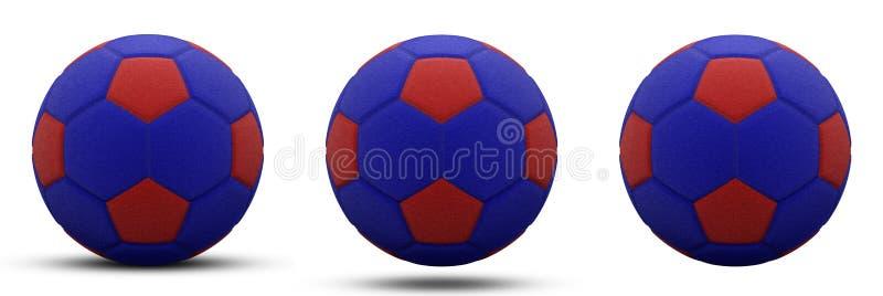 Blauw-rode voetbalbal in drie versies, met schaduw en zonder Geïsoleerd op wit 3d geef terug royalty-vrije illustratie