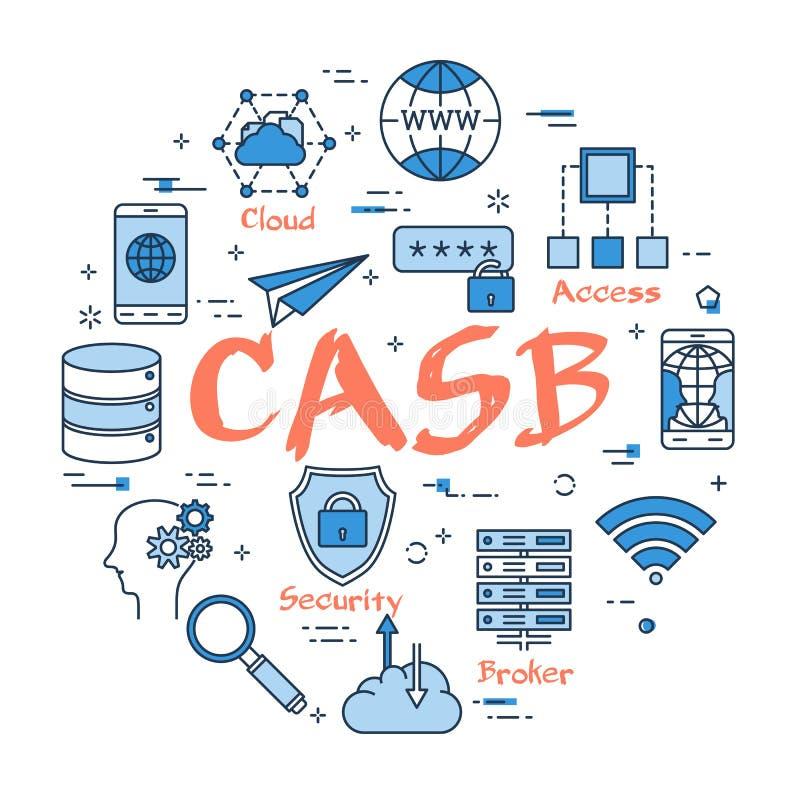 Blauw rond CASB-concept vector illustratie