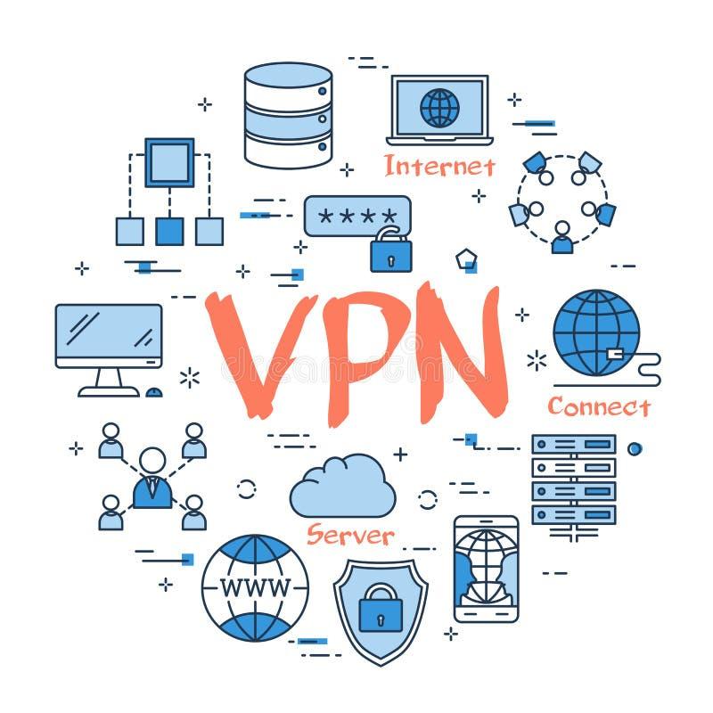 Blauw rond VPN-concept stock illustratie