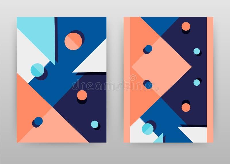 Blauw rood geometrisch rond driehoeksontwerp voor jaarverslag, brochure, vlieger, affiche Meetkunde blauwe vectorillustratie als  stock illustratie