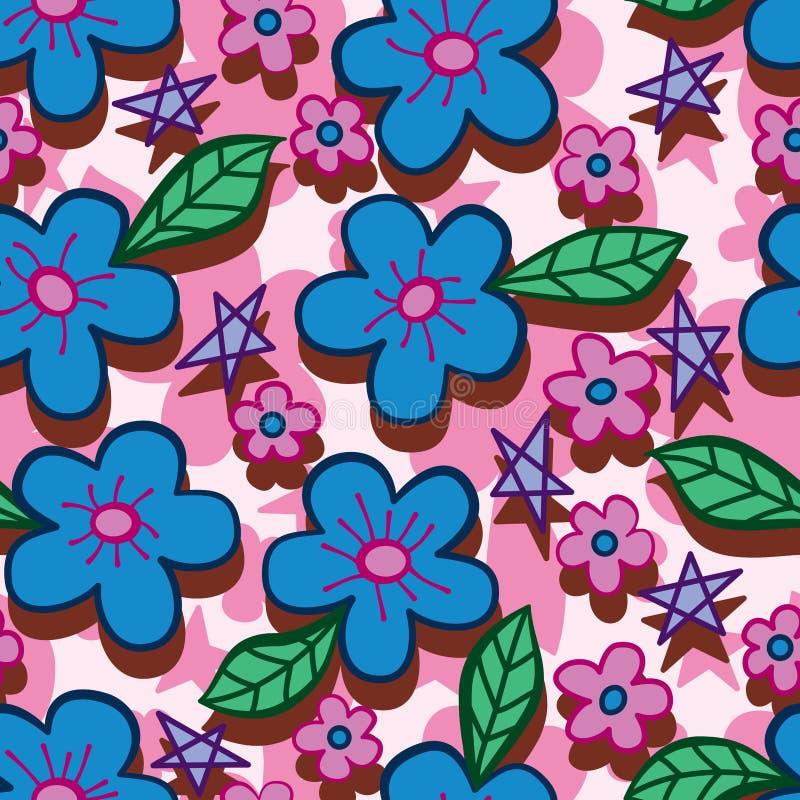 Blauw roze de stijl verticaal naadloos patroon van de bloemlijn vector illustratie