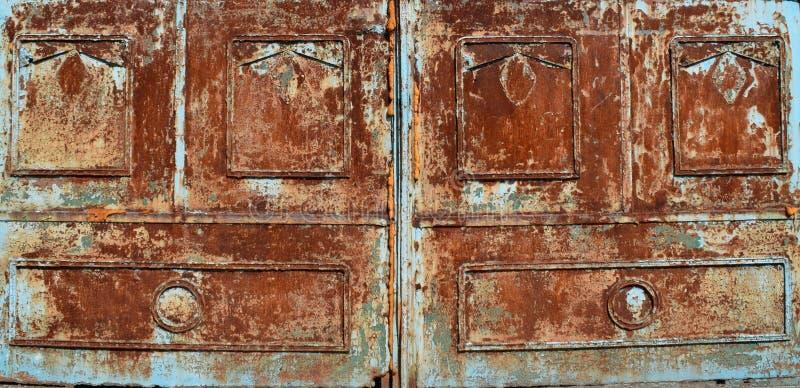 Blauw Rusty Metal Texture Background stock foto's