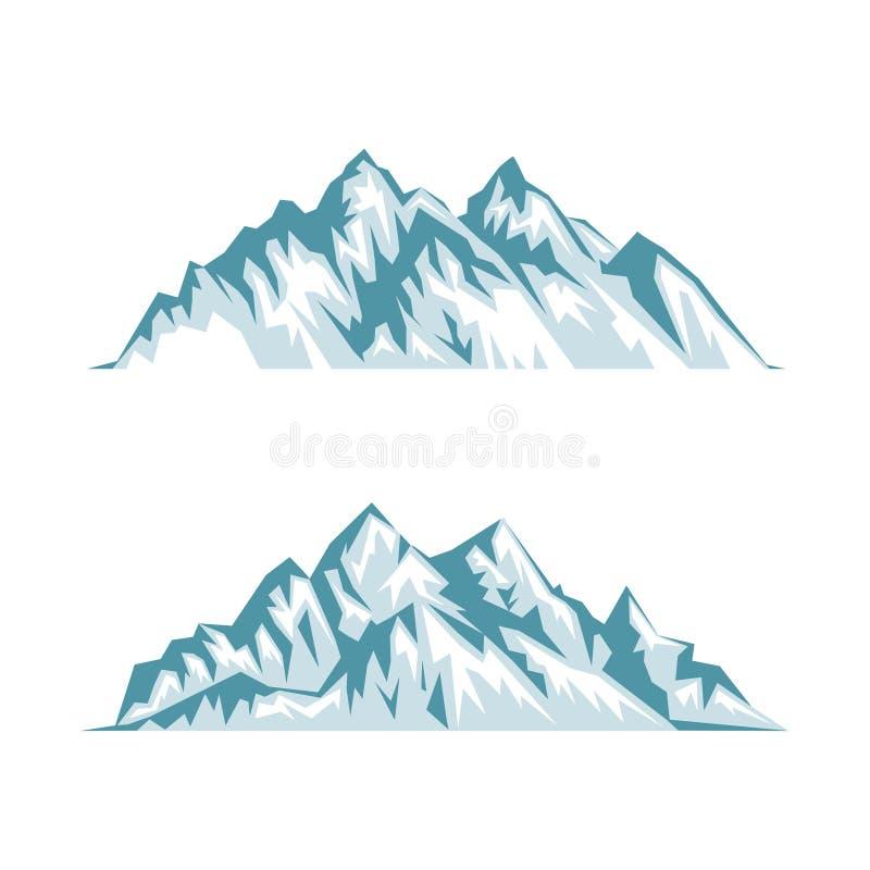 Blauw silhouet van bergen met schaduwen, lichten en sneeuw vector illustratie