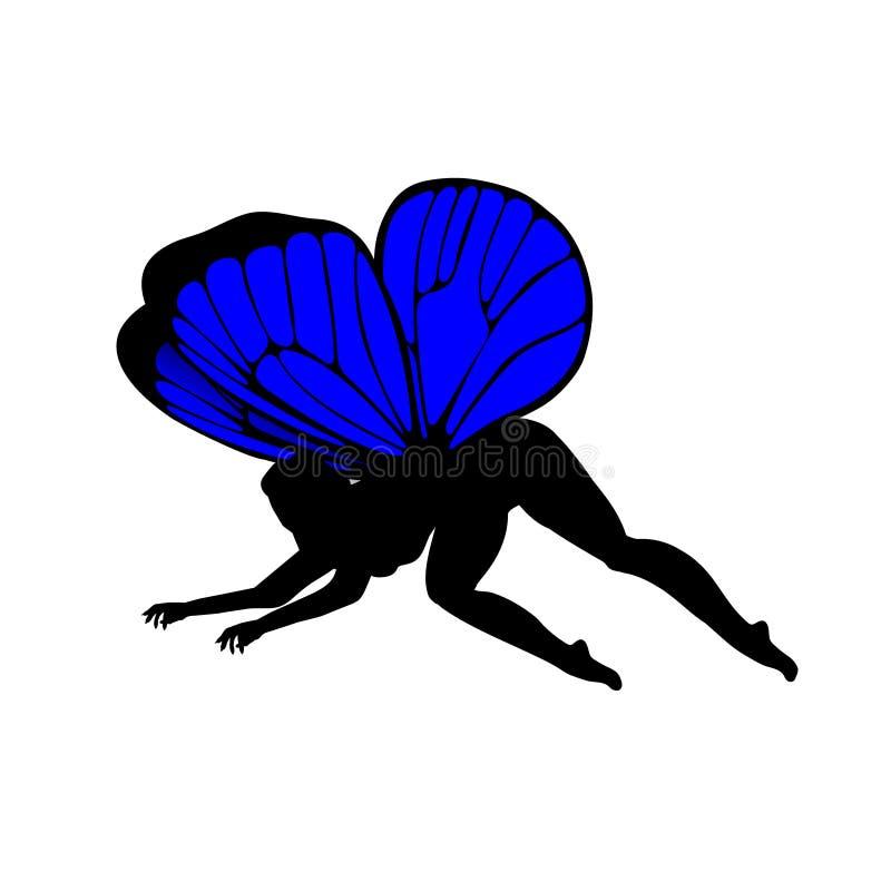 Blauw, silhouetten van leuke girly feeën Met kleurrijke vleugels Vector illustratie stock illustratie