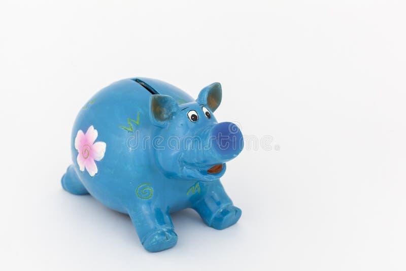 Blauw spaarvarken royalty-vrije stock afbeeldingen
