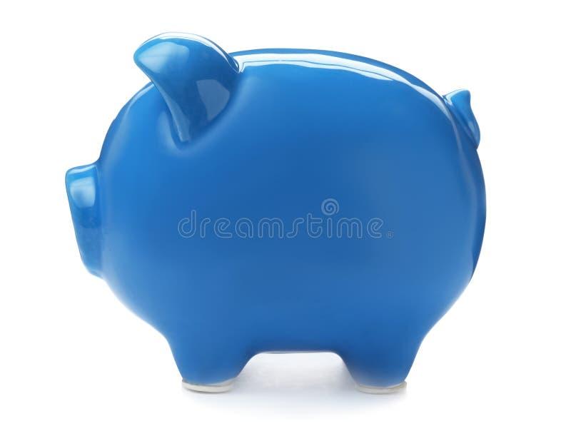 Blauw spaarvarken op witte achtergrond royalty-vrije stock fotografie