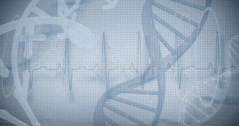 Blauw spiraalvormig DNA-patroon op het scherm stock afbeeldingen