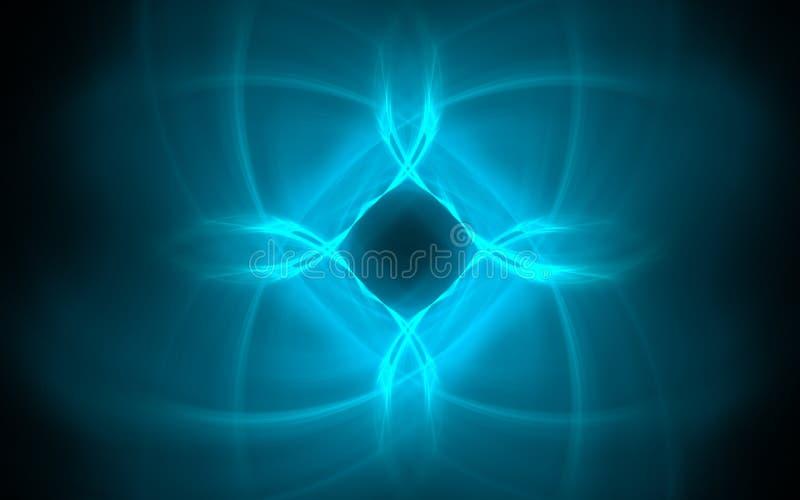 Blauw symmetrisch kosmisch symbool in de vorm van een abstracte ster met vage stralen op een zwarte achtergrond voor Webontwerp e stock illustratie