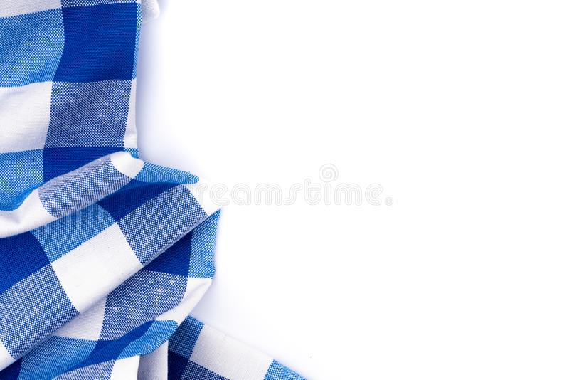 Blauw tafelkleed op whhiteachtergrond stock afbeelding
