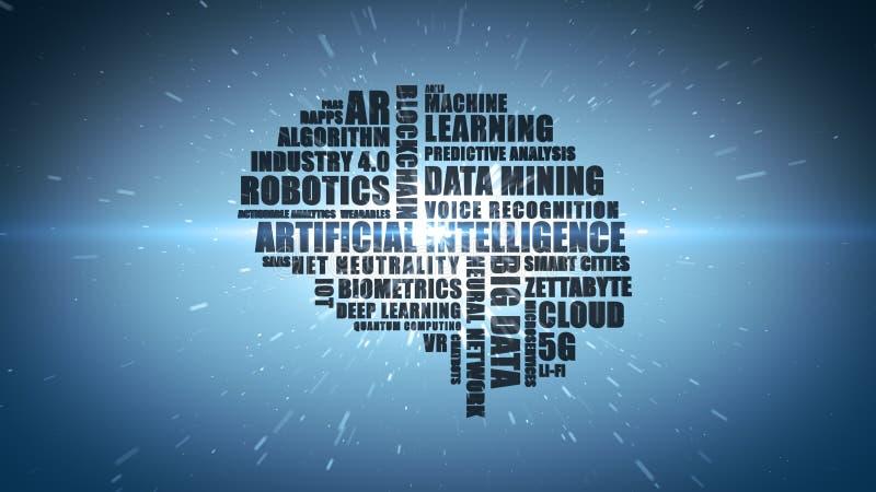Blauw technologiemodewoord wordcloud voor Kunstmatige intelligentie stock foto's