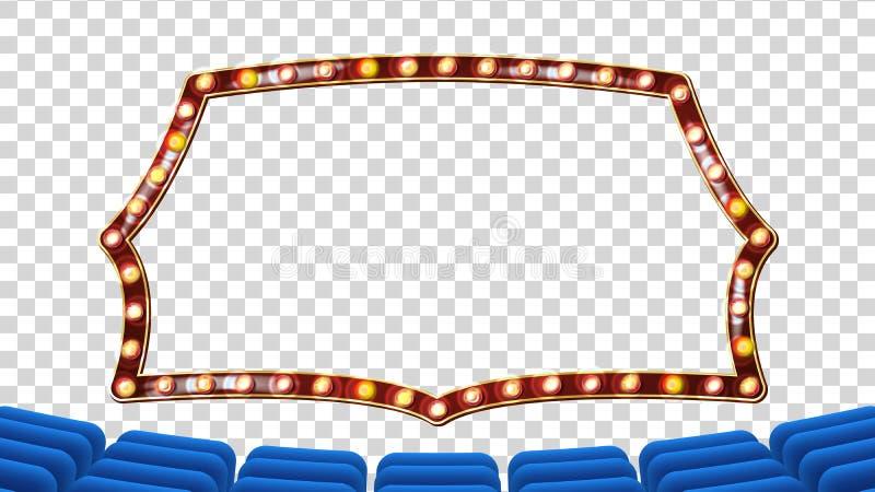 Blauw Theatergordijn met Lichte Kadervector Blauwe Achtergrond en Gloeilampenkader De realistische Retro Raad van het bioskoopont vector illustratie