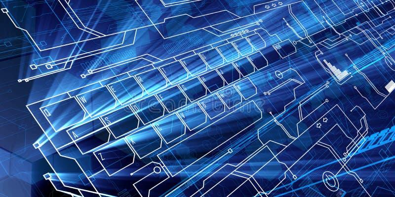 Blauw Toekomstig Toetsenbord vector illustratie