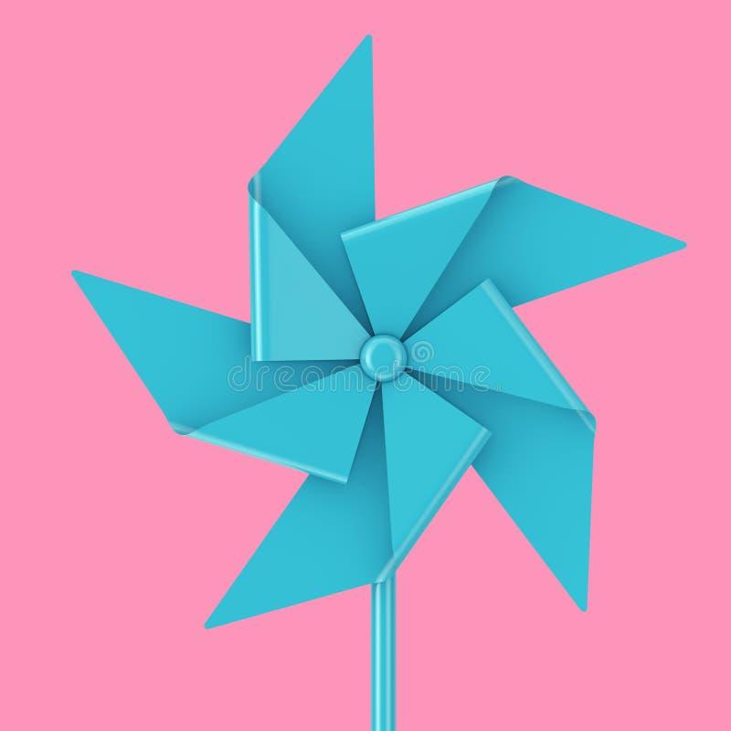 Blauw Toy Pinwheel Windmill het 3d teruggeven stock illustratie