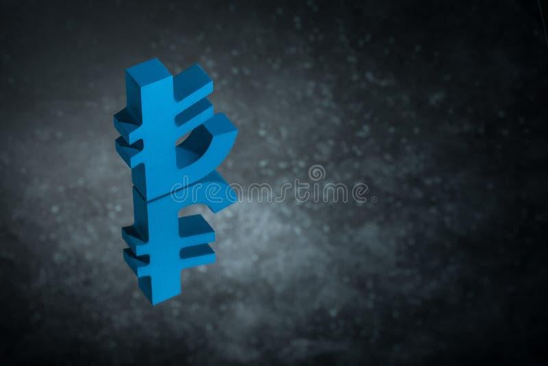 Blauw Turks Valutasymbool of Teken met Spiegelbezinning over Donker Dusty Background stock illustratie