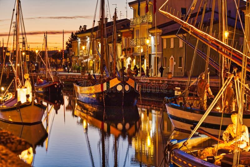 Blauw uur in Cesenatico royalty-vrije stock foto's