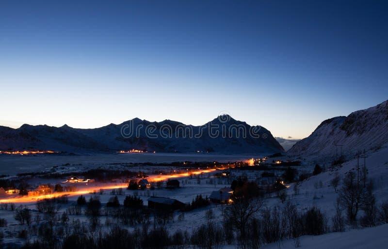 Blauw Uur dichtbij Borg, Lofoten, Noorwegen royalty-vrije stock afbeeldingen