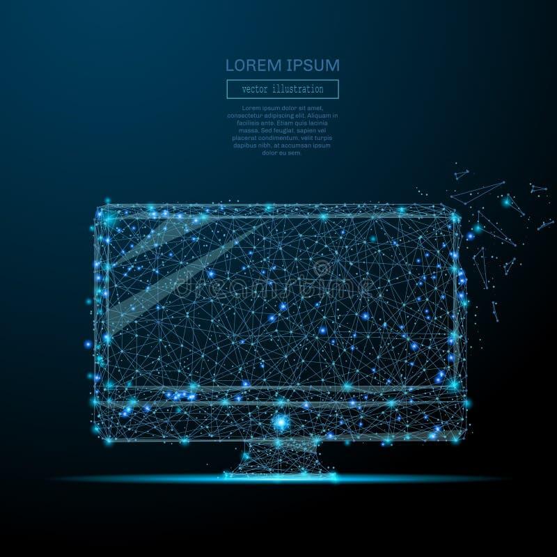 Blauw van computer het lage polywireframe royalty-vrije illustratie