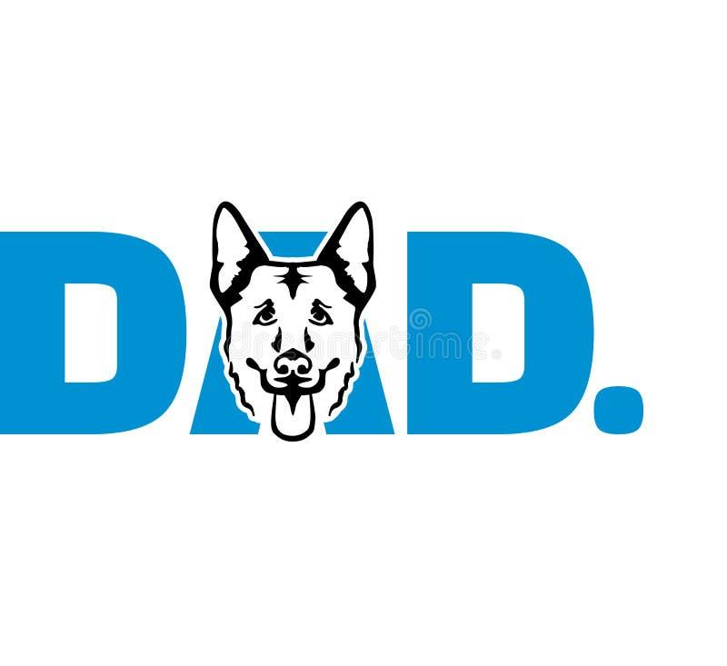 Blauw van de Duitse herder het beste papa vector illustratie