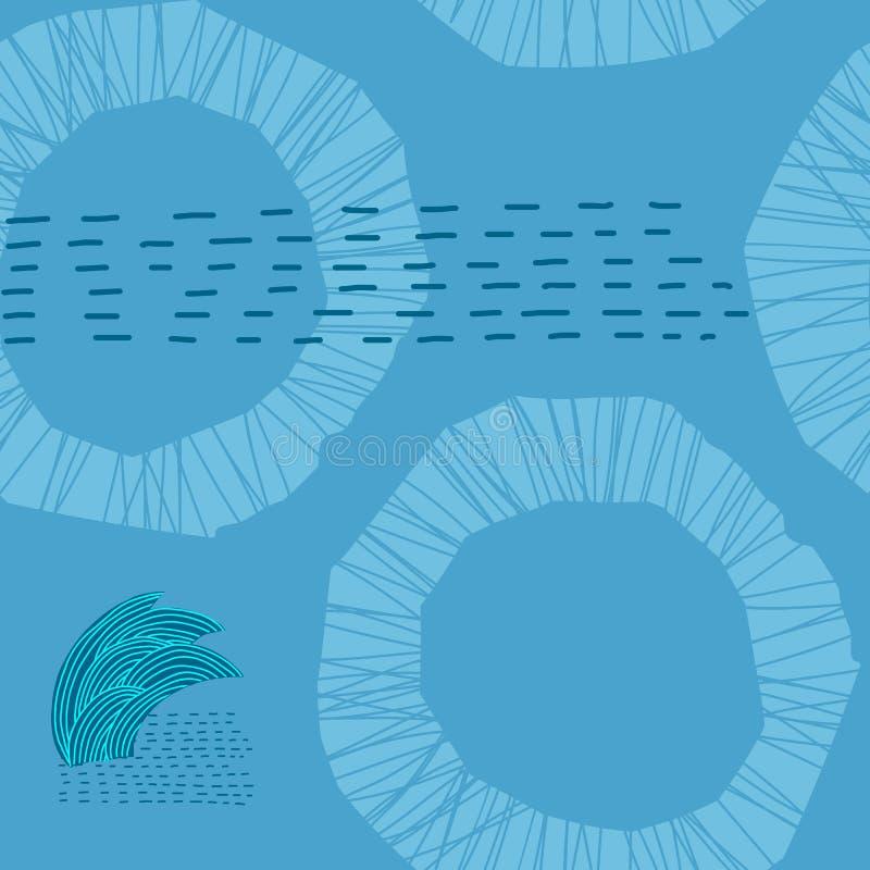 Blauw van de het grasstroom van het rivierkruid de stroom naadloos patroon vector illustratie