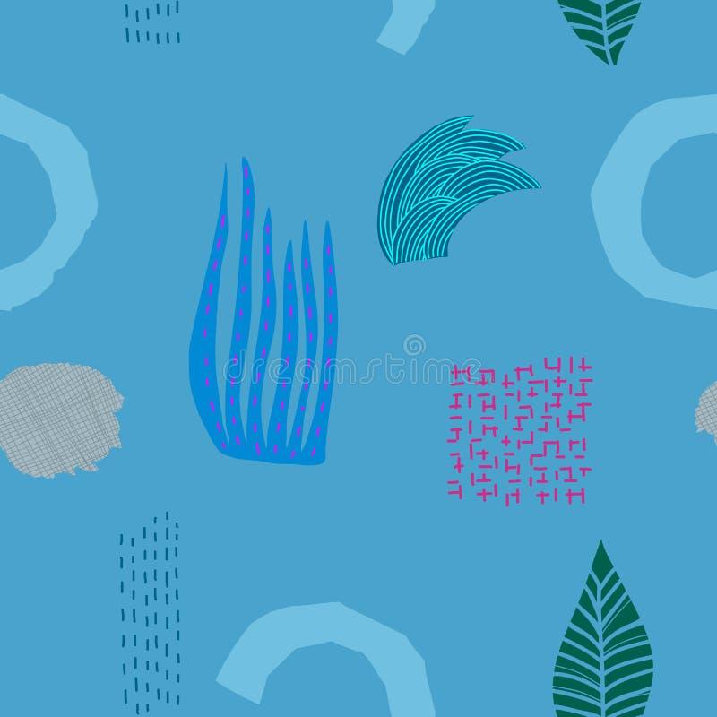 Blauw van de het grasstroom van het rivierkruid de stroom naadloos patroon stock illustratie