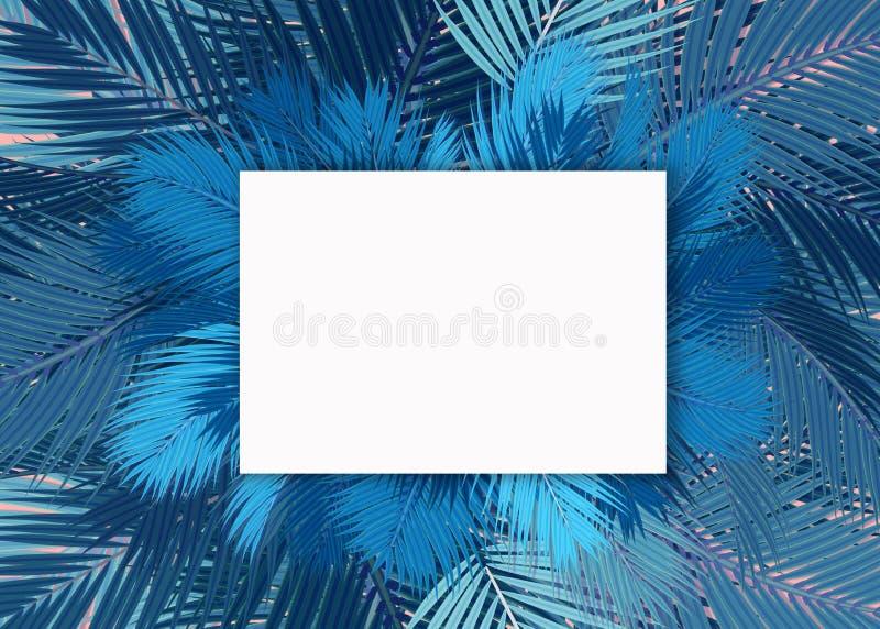 Blauw van de Palmen leeg kaart concept als achtergrond stock illustratie