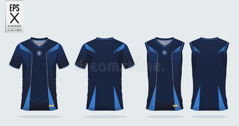 Blauw van de de t-shirtsport van het streeppatroon het ontwerpmalplaatje voor voetbal Jersey, voetbaluitrusting en mouwloos onder royalty-vrije illustratie