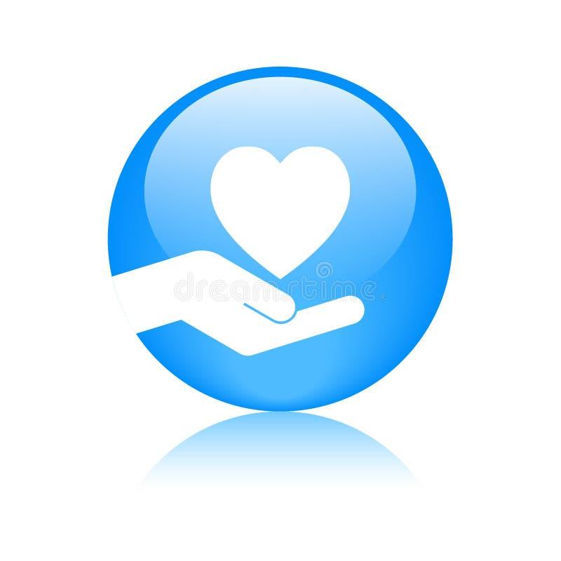 Blauw van het hart in hand embleem vector illustratie