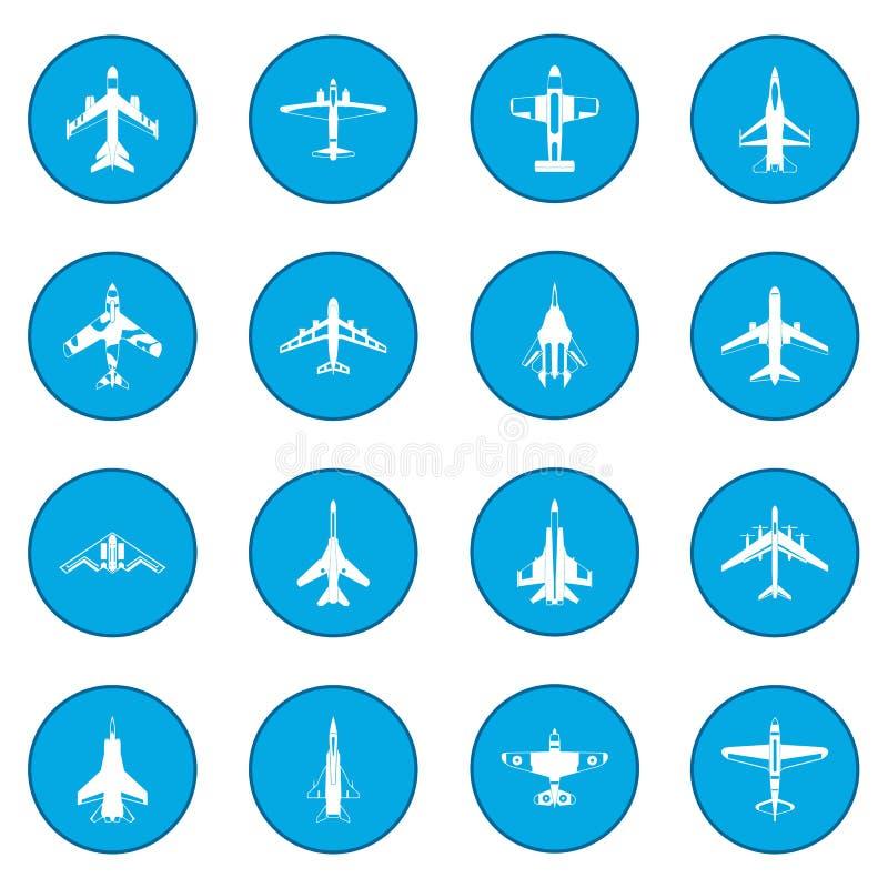 Blauw van het luchtvaart het vastgestelde pictogram royalty-vrije illustratie