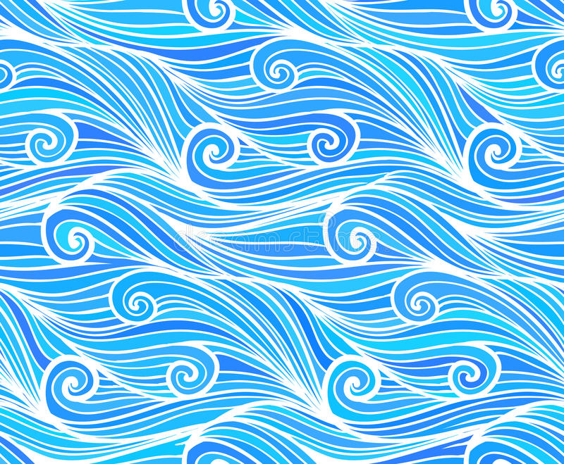 Blauw vector krullend golven naadloos patroon royalty-vrije illustratie