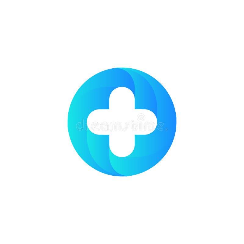 Blauw vector medisch dwarsembleem Ronde vorm logotype royalty-vrije illustratie