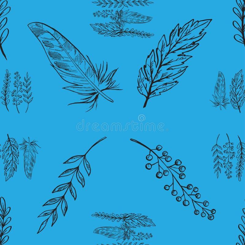 Blauw vector naadloos patroon met hand getrokken takken, bladeren en veren vector illustratie