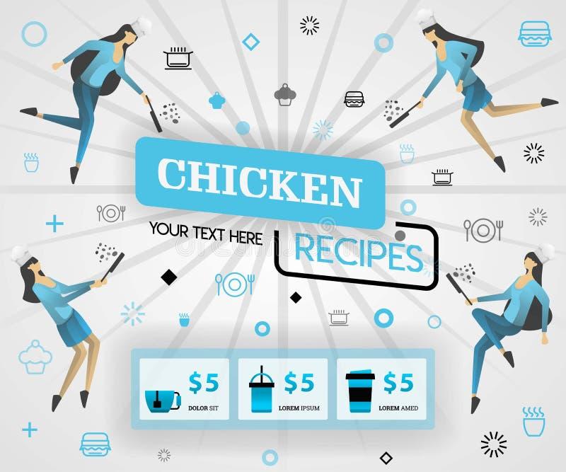 Blauw vectorillustratieconcept het boek van de de receptendekking van kippenrecepten de gezonde het koken recepten en de heerlijk stock illustratie