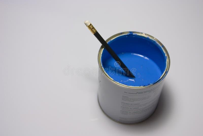Blauw Verf En Potlood Royalty-vrije Stock Foto