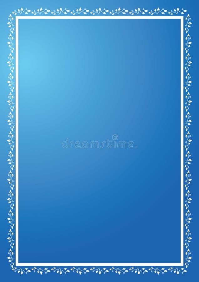 blauw verticaal frame met ornament stock illustratie