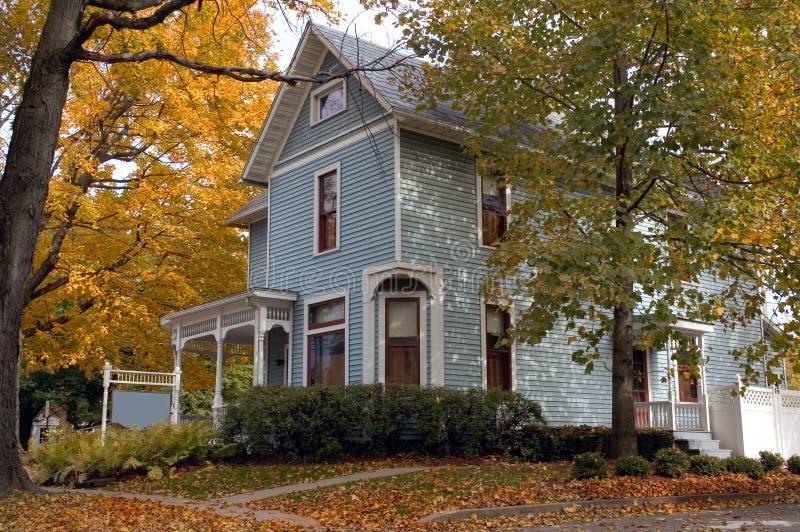 Blauw Victoriaans Huis royalty-vrije stock afbeeldingen