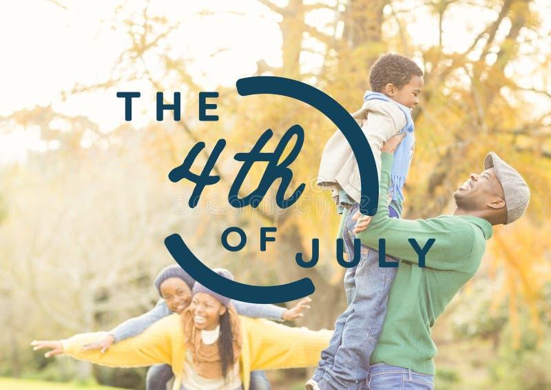 Blauw vierde van Juli grafisch tegen familie in bos stock illustratie
