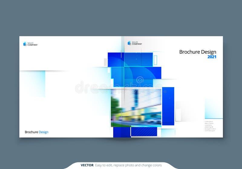 Blauw vierkant Brochure Cover Template Layout Design Horizontale brochure voor bedrijven, jaarverslag, catalogus royalty-vrije illustratie