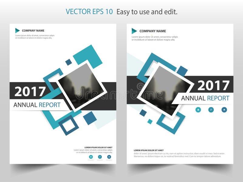 Blauw vierkant van de de Brochurevlieger van het jaarverslagpamflet het malplaatjeontwerp, de lay-outontwerp van de boekdekking,  royalty-vrije illustratie