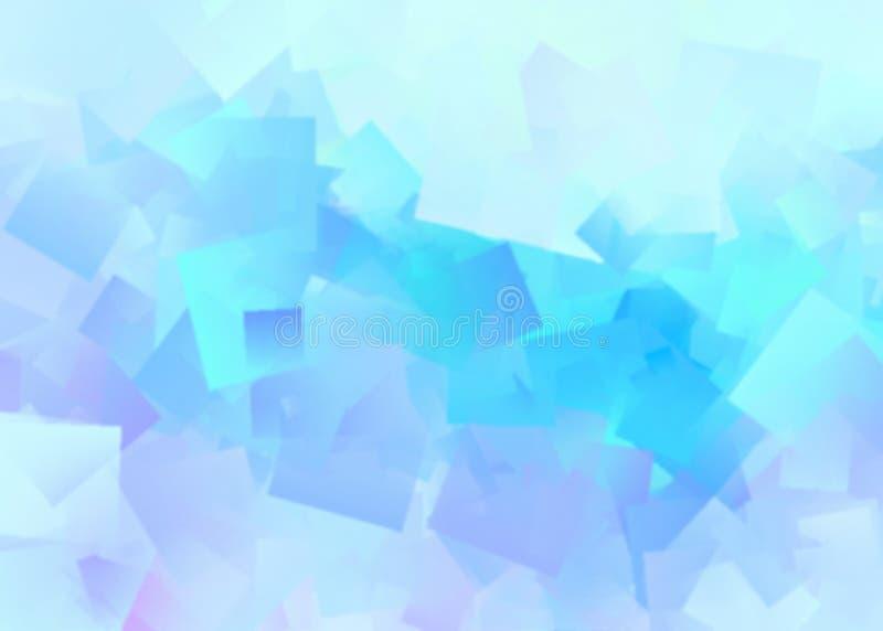 Blauw vierkanten chaotisch vaag abstract patroon De achtergrond van de kunstwaterverf stock illustratie