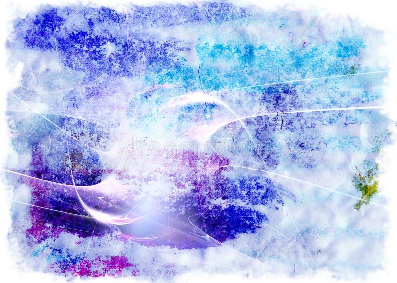 Blauw-violette waterverfachtergrond stock illustratie