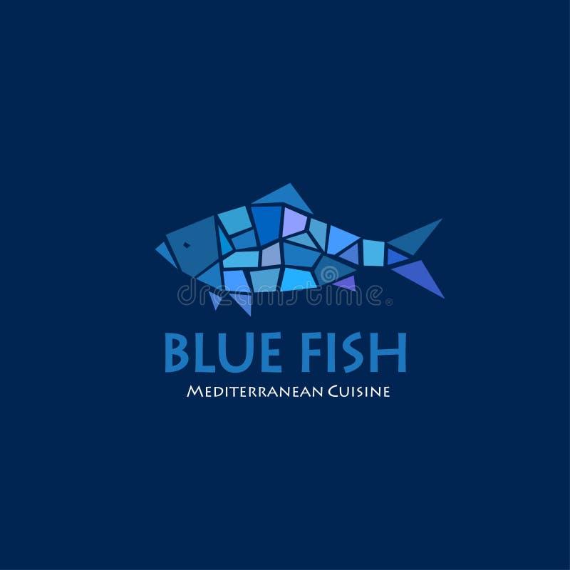 Blauw vissenembleem Mediterraan keukenrestaurant Blauw vissenmozaïek op een donkere achtergrond vector illustratie