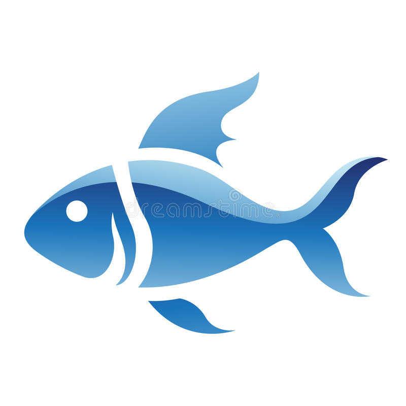 Blauw Vissenpictogram royalty-vrije illustratie
