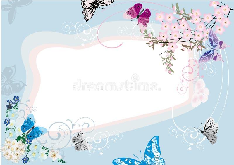 Blauw vlinder en bloemframe ontwerp royalty-vrije illustratie