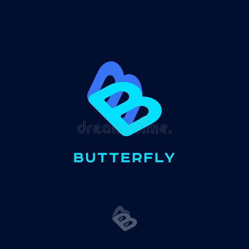 Blauw vlinderembleem Dubbele B zoals een vlinder Schoonheidsembleem Schoonheidsmiddelen of klerenpictogram royalty-vrije illustratie