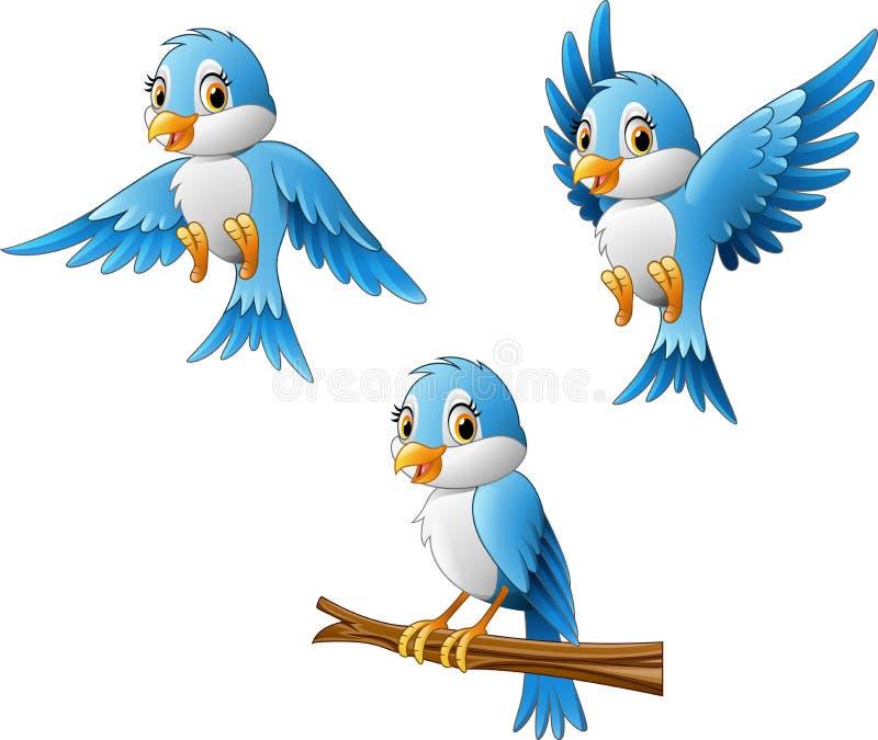 Blauw vogelbeeldverhaal stock illustratie